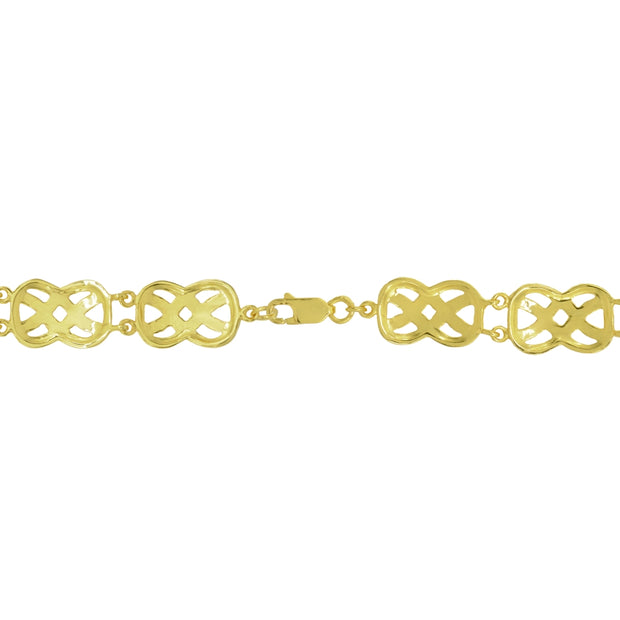 Two-Tone Yellow Gold Flashed Sterling Silver Celtic Knot Diamond-Cut Link Bracelet