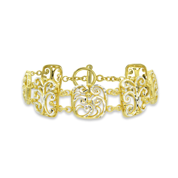 Two-Tone Yellow Gold Flashed Sterling Silver Filigree Swirl Diamond-Cut Link Bracelet