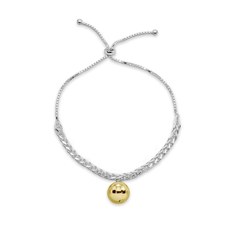 Two-Tone Yellow Gold Flashed Sterling Silver Polished Ball Bead Station Wheat Spiga Chain Adjustable Bolo Bracelet