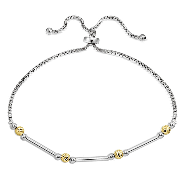 Two-Tone Yellow Gold Flashed Sterling Silver Polished Bar Diamond-Cut Beads Adjustable Chain Bolo Bracelet