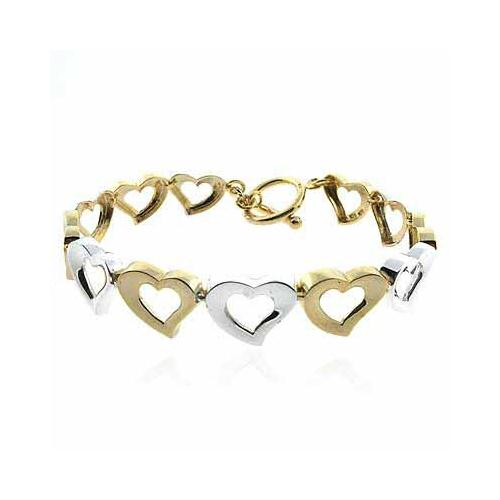 18K Gold over Sterling Silver Two-Tone Open Hearts Link Bracelet