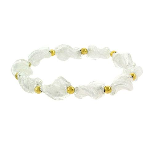 18K Gold over Sterling Silver Beads & Twist Glass Stretch Bracelet