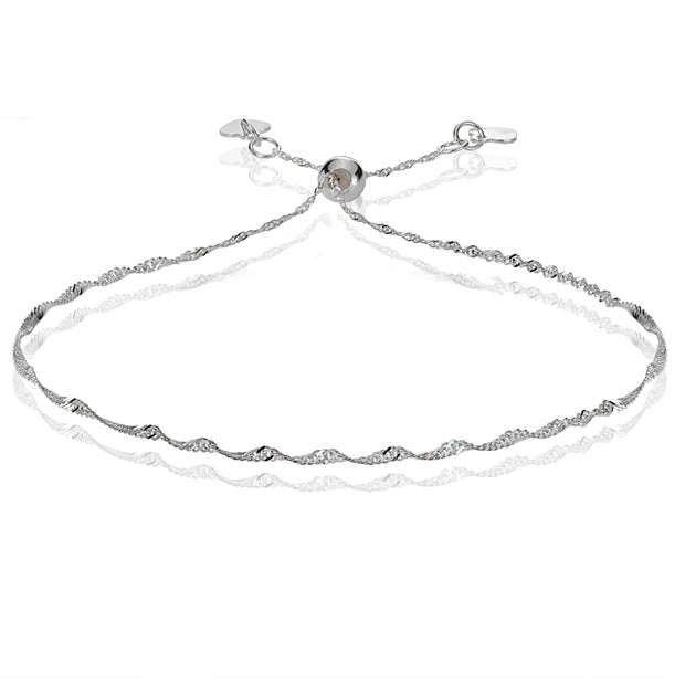 14K White Gold 1.4mm Singapore Adjustable Italian Chain Bracelet, 7-9 Inches