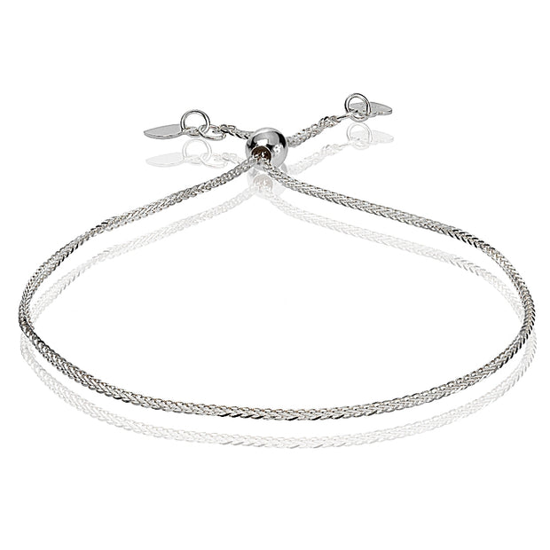 14K White Gold .8mm Spiga Wheat Adjustable Italian Chain Bracelet, 7-9 Inches