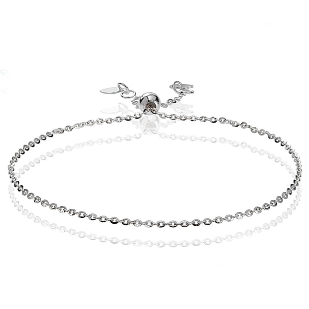 14K White Gold 1.4mm Diamond-Cut Cable Adjustable Italian Chain Bracelet, 7-9 Inches