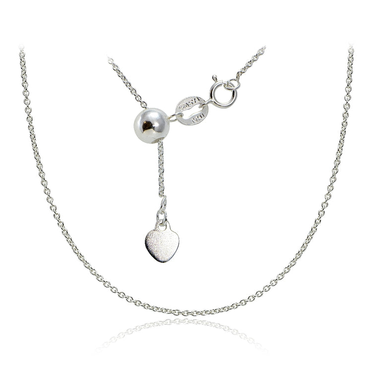 "Sterling Silver 1.5mm Rolo Adjustable Chain Necklace 20"" Inches"