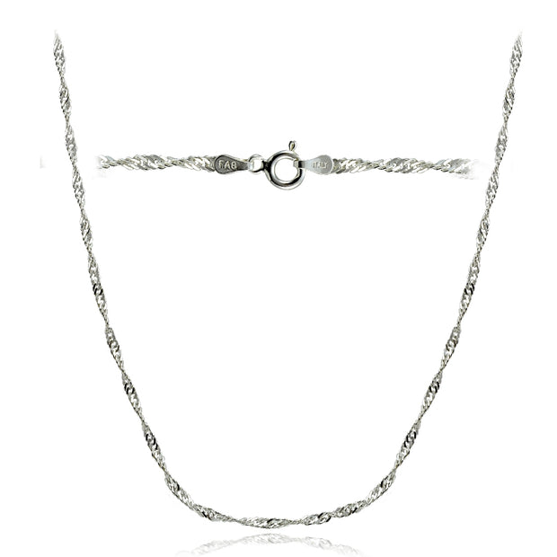 Sterling Silver Italian 2.5mm Diamond-Cut Twist Chain Necklace 24-Inches