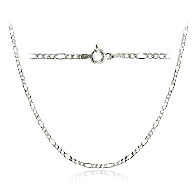 Sterling Silver 2.5mm Italian Figaro Link Necklace 24 Inches