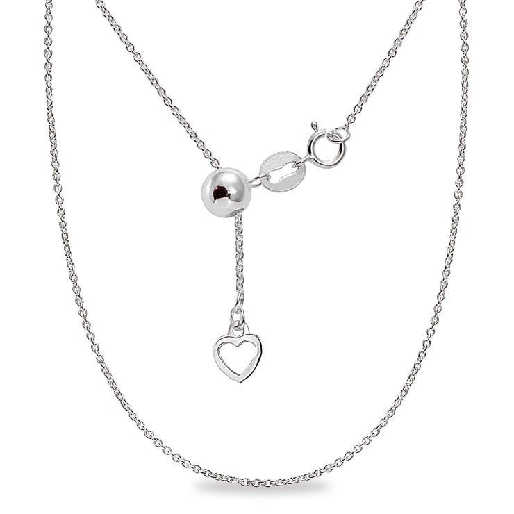 "Sterling Silver Adjustable Rolo Bolo Chain Necklace 20"" Inches"