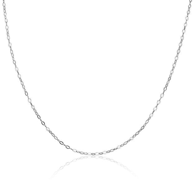 Sterling Silver 0.90mm Thin Delicate Cable Chain Necklace, 16 Inches
