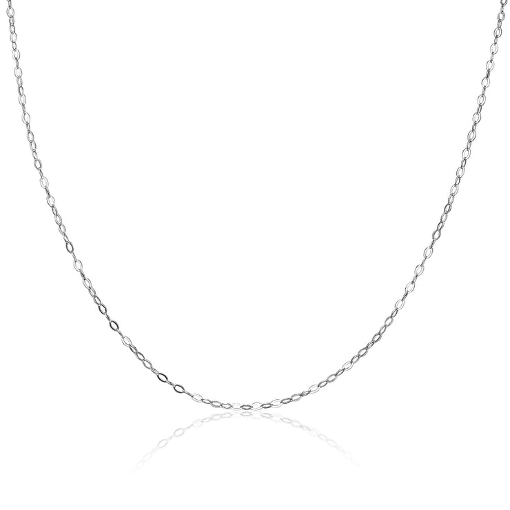 Sterling Silver 0.90mm Thin Delicate Cable Chain Necklace, 20 Inches