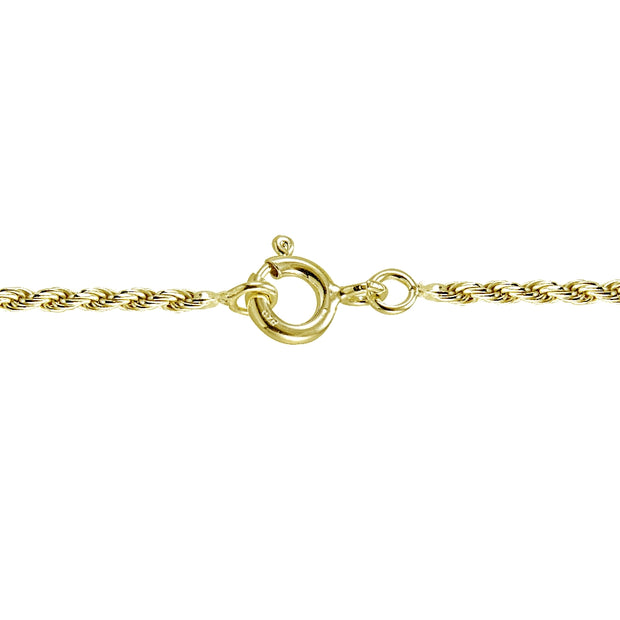 Gold Tone over Silver Italian 1.5mm Twisted Rope Chain Necklace for Pendants 24-Inches