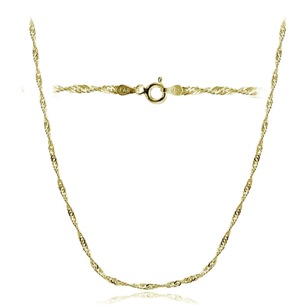 Gold Tone over Sterling Silver Italian 2.5mm Diamond-Cut Twist Chain Necklace 24-Inches