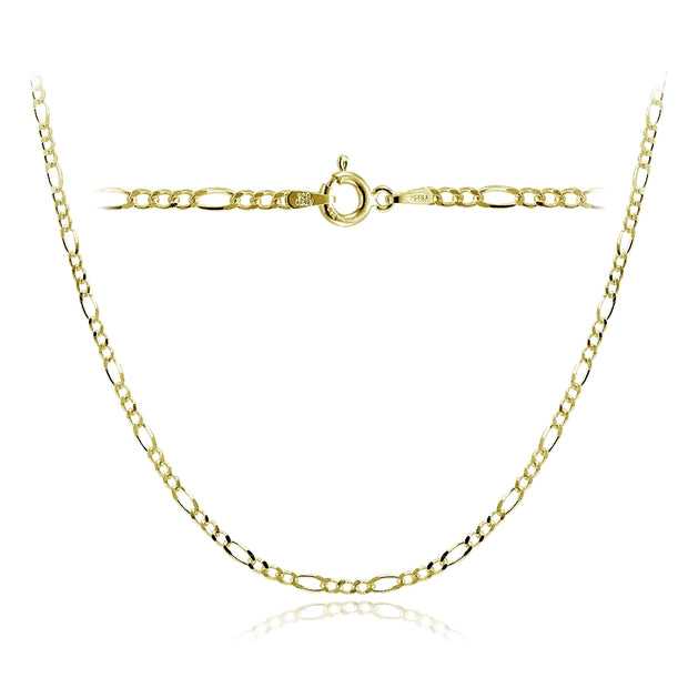 Gold Tone over Sterling Silver 2.5mm Italian Figaro Link Necklace 24 Inches