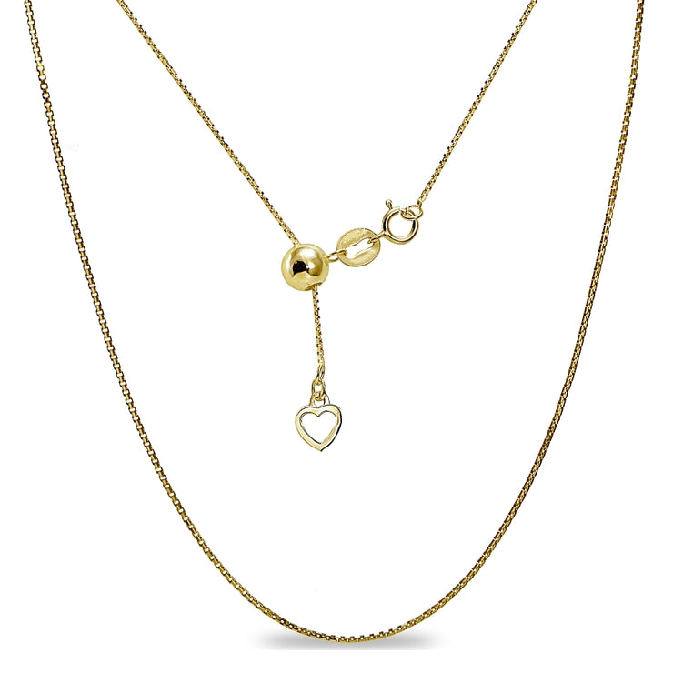 "Yellow Gold Flashed Sterling Silver Adjustable Box Bolo Chain Necklace 20"" Inches"