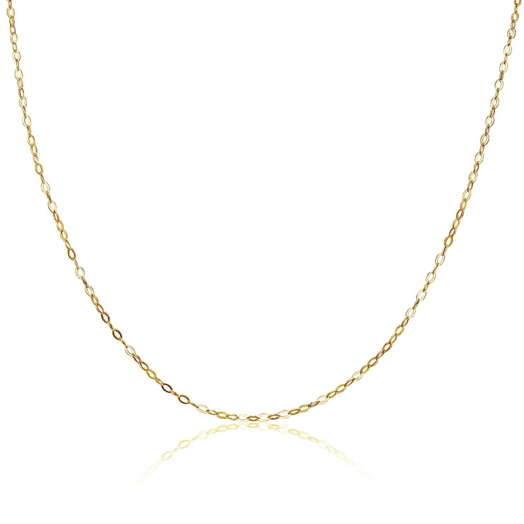 Yellow Gold Flashed Sterling Silver 0.90mm Thin Delicate Cable Chain Necklace, 18 Inches