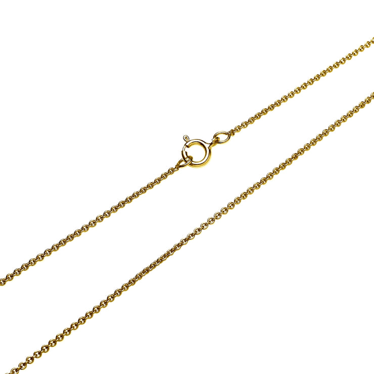 "Yellow Gold Flashed Sterling Silver 1mm Thin Cable Rolo Choker Size Chain Necklace for Pendants, 13"" + 3"""