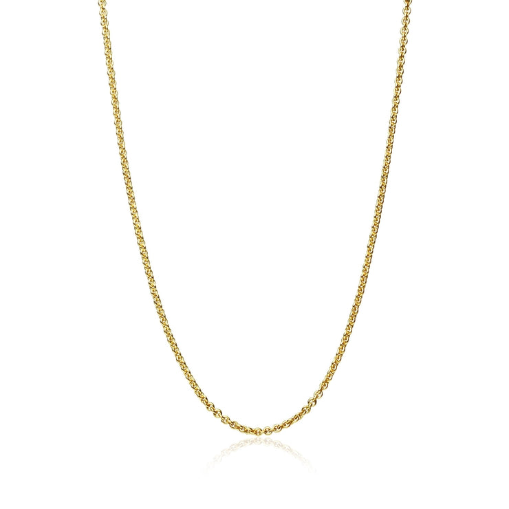 Yellow Gold Flashed Sterling Silver 1mm Thin Cable Rolo Chain Necklace, 16 Inches