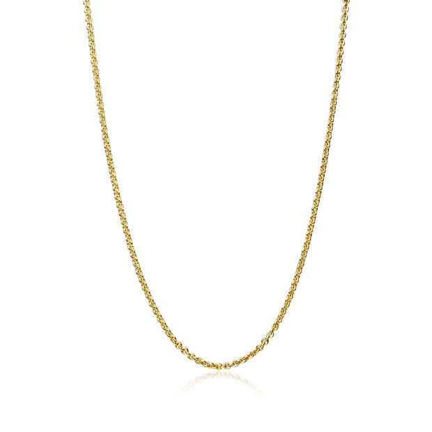 Yellow Gold Flashed Sterling Silver 1mm Thin Cable Rolo Chain Necklace, 30 Inches