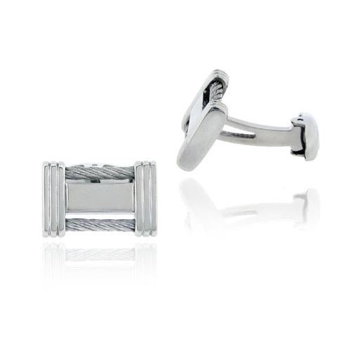 Stainless Steel Cable Design Men's Cufflinks