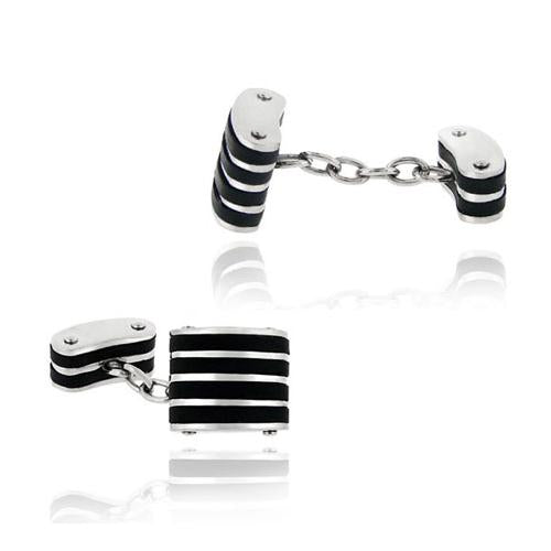 Stainless Steel and Black Rubber Striped Chain Cufflinks