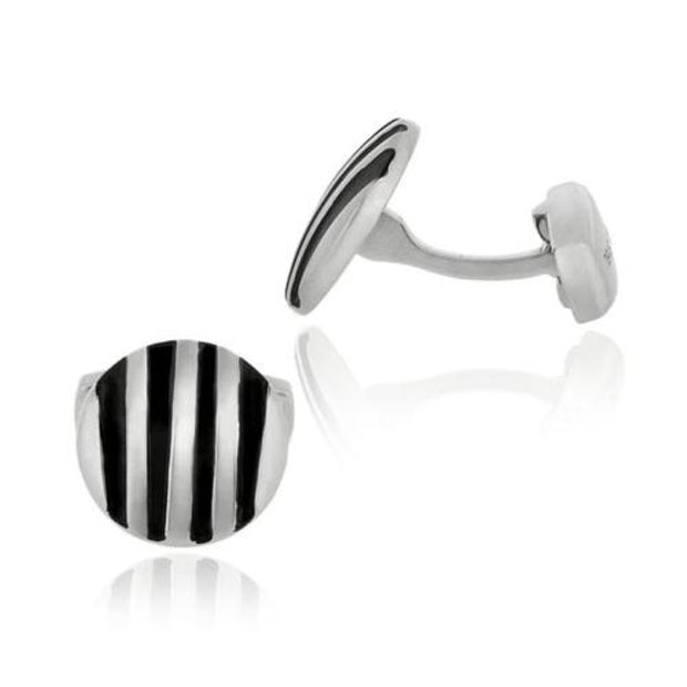 Stainless Steel & Black Enamel Stripe Round Men's Cufflinks
