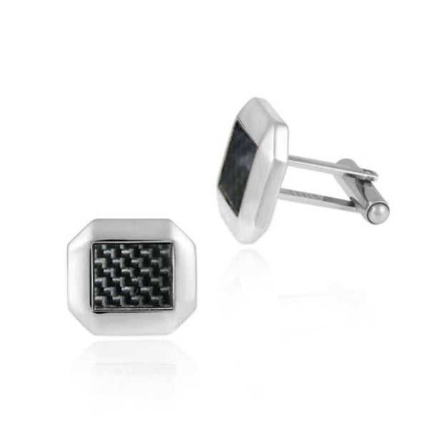 Stainless Steel & Black Carbon Fiber Modern Men's Cufflinks