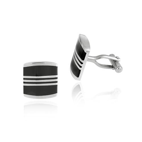Stainless Steel & Black Enamel Striped Square Men's Cufflinks