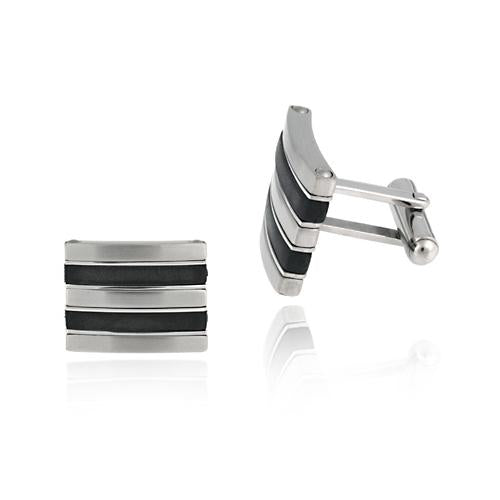 Brushed Stainless Steel and Black Rubber Stripe Rectangle Cufflinks