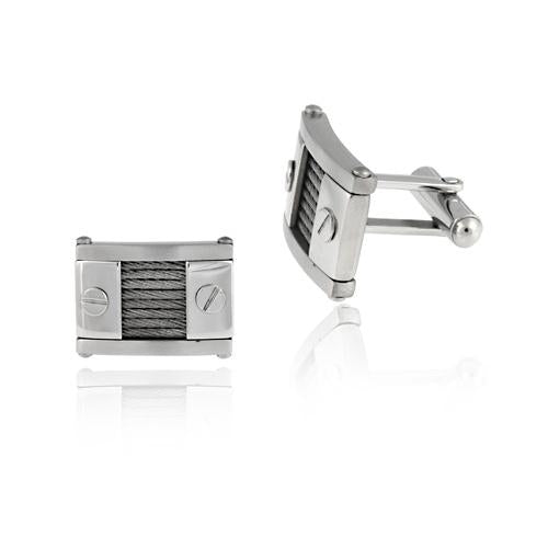 Stainless Steel Nailhead and Cable Design Cufflinks