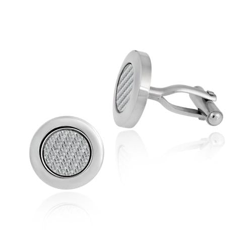 Stainless Steel Circle Woven Cufflinks