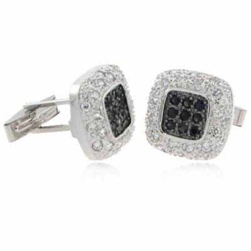 Sterling Silver Black & Clear CZ Pave Square Men's Cufflinks