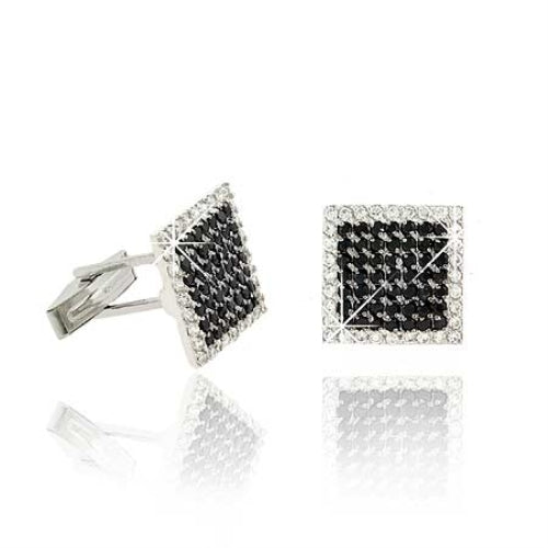 Sterling Silver Black CZ Square Men's Cufflinks