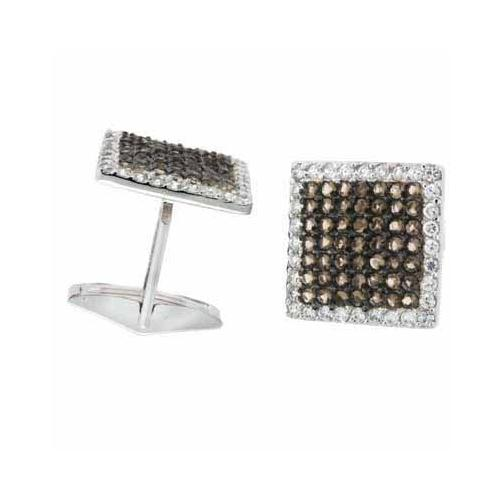 Sterling Silver Smokey Quartz CZ Square Men's Cufflinks