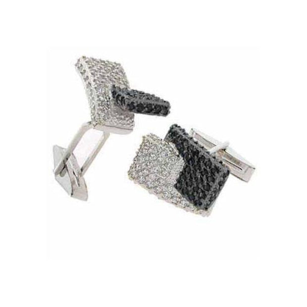 Sterling Silver Black & Clear CZ Modern Men's Cufflinks