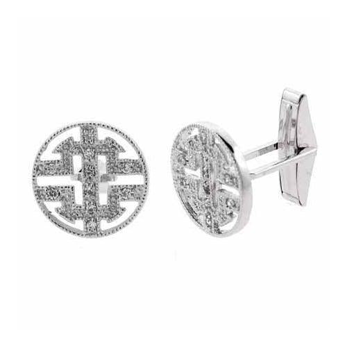 Sterling Silver CZ Round Men's Cufflinks