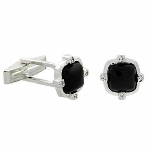 Sterling Silver Onyx & CZ Square Men's Cufflinks
