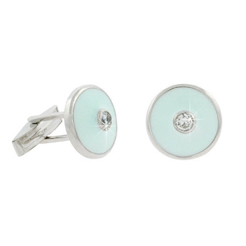Sterling Silver CZ & Teal Enamel Round Men's Cufflinks