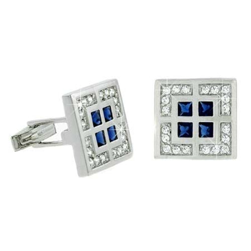 Sterling Silver Clear & Blue CZ Square Geometric Men's Cufflinks