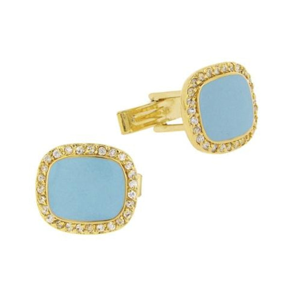 18k Gold Over Sterling Silver Teal Enamel & CZ Men's Cufflinks