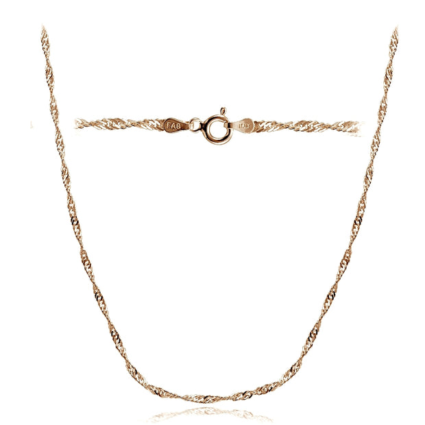 Rose Gold Tone over Silver Italian 2.5mm Diamond-Cut Twist Chain Necklace for Pendants 24-Inches