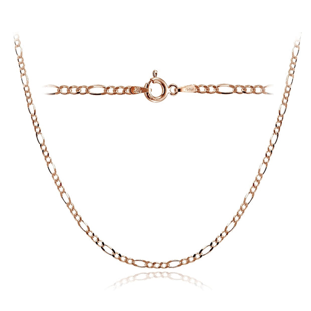 Rose Gold Tone over Sterling Silver 2.5mm Italian Figaro Link Necklace 24 Inches