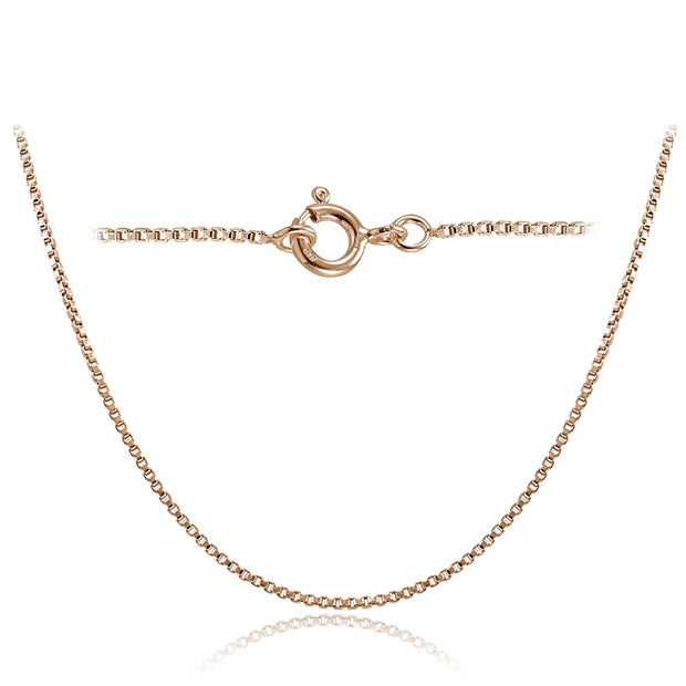 Rose Gold Tone over Sterling Silver Italian 1.05mm Box Chain Necklace 24 Inches