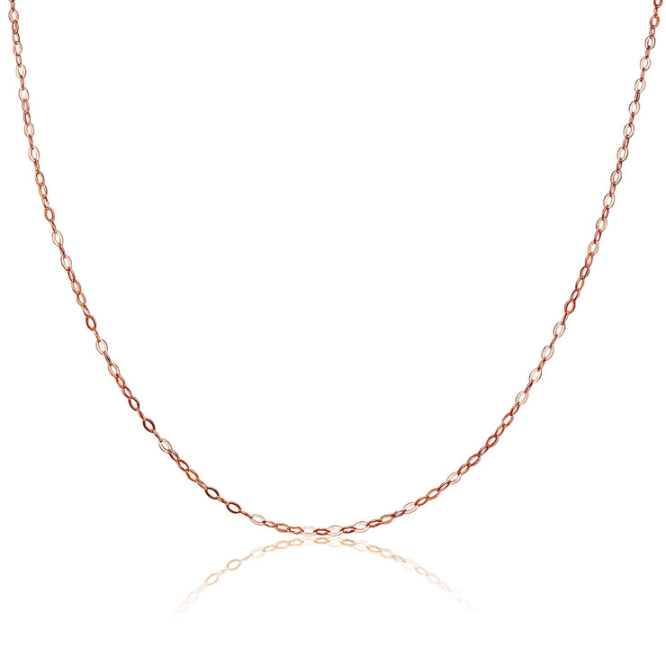 Rose Gold Flashed Sterling Silver 0.90mm Thin Delicate Cable Chain Necklace, 18 Inches