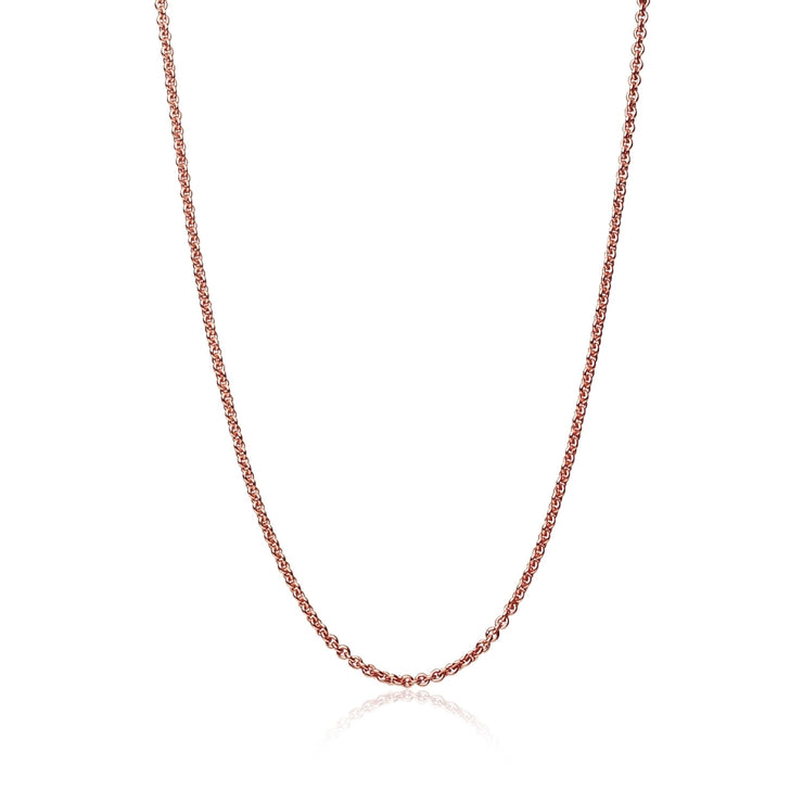 Rose Gold Flashed Sterling Silver 1mm Thin Cable Rolo Chain Necklace, 20 Inches