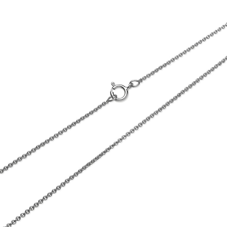 Sterling Silver 1mm Thin Cable Rolo Chain Necklace, 14 Inches