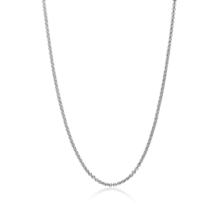 Sterling Silver 1mm Thin Cable Rolo Chain Necklace, 16 Inches