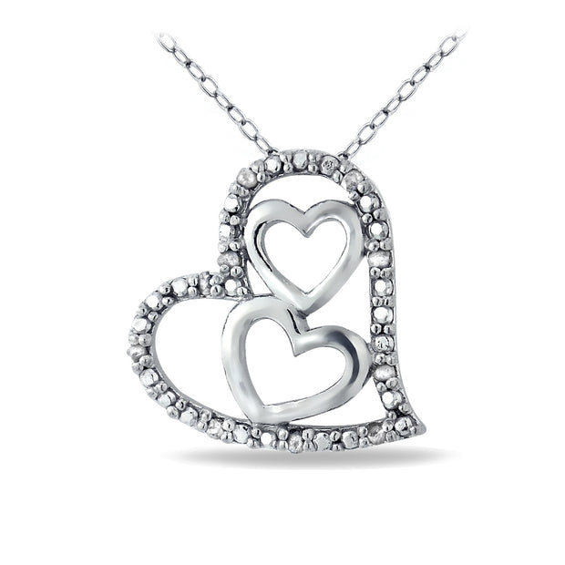 Sterling Silver 1/10ct Diamond Triple Heart Necklace