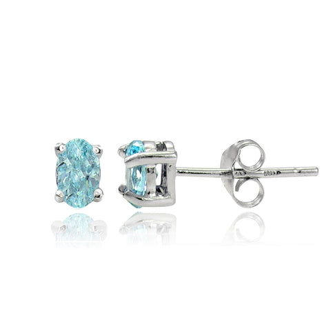 Sterling Silver Genuine Apatite 5x3 Oval Stud Earrings