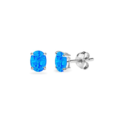 Sterling Silver Simulated Blue Opal 5x3mm Oval-Cut Solitaire Stud Earrings